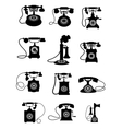 Silhouette of vintage telephones vector image vector image