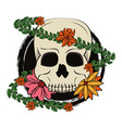 skull with leaves and flowers vector image vector image