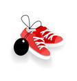 sneakers with blank price tag footwear shopping vector image