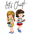 two girls chat on phone vector image
