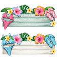 watercolor summer wooden banner with tropical vector image vector image