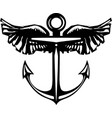 winged anchor vector image vector image
