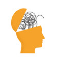 with human head silhouette brain as tangled vector image vector image