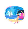 young woman sitting on palm tree trunk at beach vector image