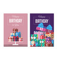happy birthday to you greeting card design set vector image