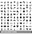 100 children icons set simple style vector image vector image