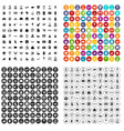 100 family icons set variant vector image