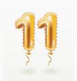 11 years golden aluminum foil balloon anniversary vector image vector image
