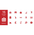 15 market icons vector image vector image