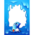 A border template with a dying blue monster vector image vector image