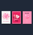 a set of cards for the celebration of valentine s vector image vector image