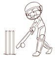 A simple sketch of a man playing cricket vector image vector image
