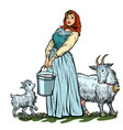 a village woman with bucket milk goats isolate vector image