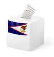 Ballot box with voting paper American Samoa vector image vector image