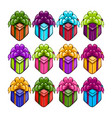 big set with coloring gift boxs vector image