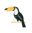black-feathered toucan with large yellow beak vector image