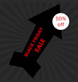 black friday sale banner on black background vector image