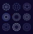 blue tribal set of 9 mandalas vector image