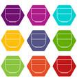 bowl icons set 9 vector image
