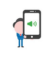 businessman holding smartphone with speaker sound vector image