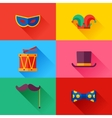 Celebration carnival set of flat icons and objects vector image vector image