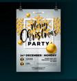 christmas party flyer with shiny gold vector image vector image