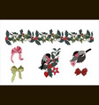 christmas plants and christmas toys bullfinches vector image