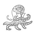 coloring page with octopus animal in ornaments vector image