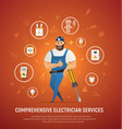 comprehensive electrician service concept vector image