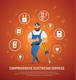 comprehensive electrician service concept vector image