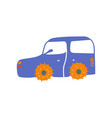 cute blue car side view cartoon vector image vector image