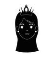 cute fantasy princess head character vector image vector image