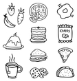 Doodle of food and drink hand draw vector image vector image