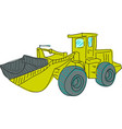 drawn colored excavator on white vector image vector image