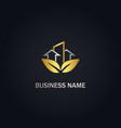 eco leaf building arrow business gold logo vector image vector image