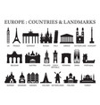 europe countries landmarks silhouette vector image vector image