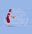 female chef cook holding tray with lobster cartoon vector image vector image