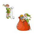 flat elves boy girl christmas scenes set vector image vector image