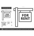 for rent sign line icon vector image