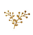 golden glitter retro flower plant deocration flat vector image vector image