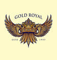 golden royal crown elegant logo vector image vector image