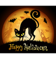 halloween black cat vector image vector image