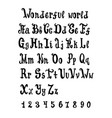 hand drawn magic alphabet brush painted vector image