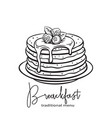 hand drawn pancakes vector image