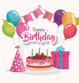 happy birthday cake with balloons air celebration vector image