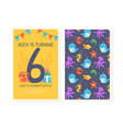 happy birthday card template froont and back side vector image
