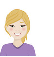 happy blond woman with purple shirt on a white vector image vector image