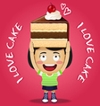 happy woman carrying big piece of chocolate cake vector image vector image