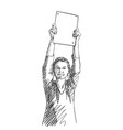 happy woman showing blank banner in hands raised vector image vector image