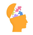 human head silhouette with puzzle pieces isolated vector image
